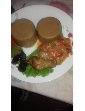Djinkoumé + poulet Viande